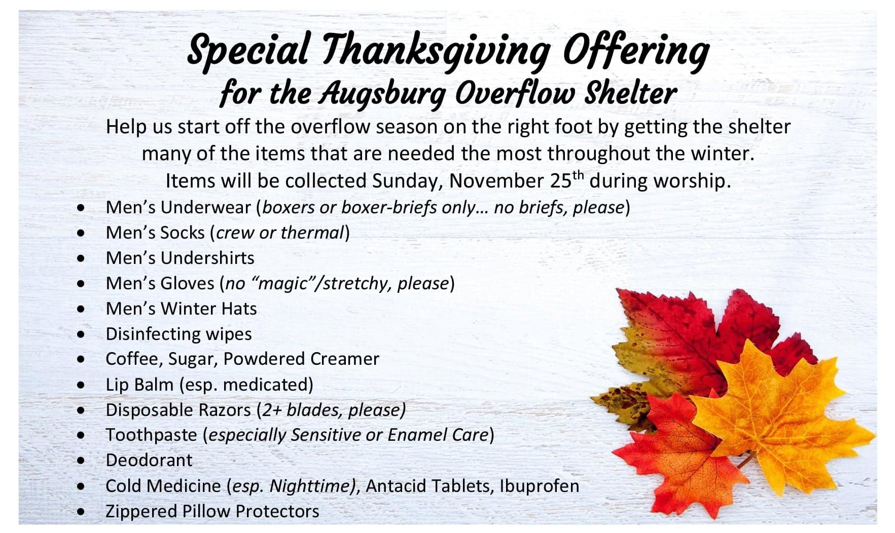 Thanksgiving Offering for Augsburg